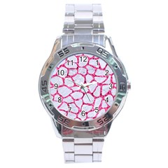 Skin1 White Marble & Pink Marble Stainless Steel Analogue Watch by trendistuff