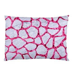 Skin1 White Marble & Pink Marble Pillow Case (two Sides)