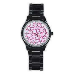 Skin1 White Marble & Pink Marble Stainless Steel Round Watch by trendistuff