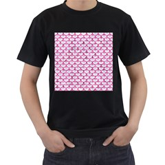 Scales3 White Marble & Pink Marble (r) Men s T Shirt (black) (two Sided)