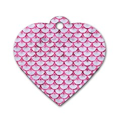 Scales3 White Marble & Pink Marble (r) Dog Tag Heart (two Sides)