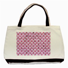Scales3 White Marble & Pink Marble (r) Basic Tote Bag (two Sides)