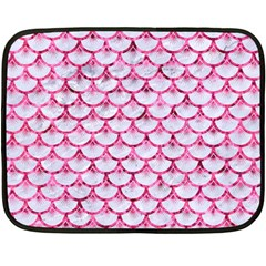 Scales3 White Marble & Pink Marble (r) Double Sided Fleece Blanket (mini)  by trendistuff