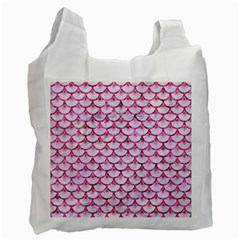 Scales3 White Marble & Pink Marble (r) Recycle Bag (one Side)