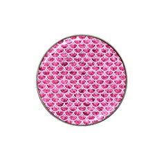 Scales3 White Marble & Pink Marble Hat Clip Ball Marker (10 Pack)