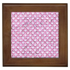 Scales2 White Marble & Pink Marble (r) Framed Tiles