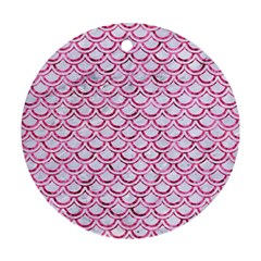 Scales2 White Marble & Pink Marble (r) Ornament (round)