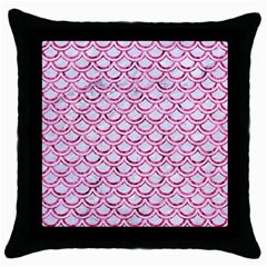Scales2 White Marble & Pink Marble (r) Throw Pillow Case (black)