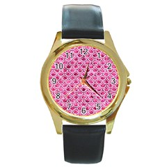 Scales2 White Marble & Pink Marble Round Gold Metal Watch by trendistuff