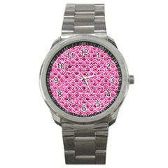 Scales2 White Marble & Pink Marble Sport Metal Watch
