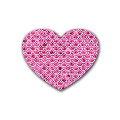 Scales2 White Marble & Pink Marble Rubber Coaster (heart)