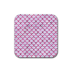 Scales1 White Marble & Pink Marble (r) Rubber Square Coaster (4 Pack)  by trendistuff