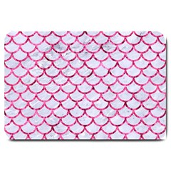 Scales1 White Marble & Pink Marble (r) Large Doormat