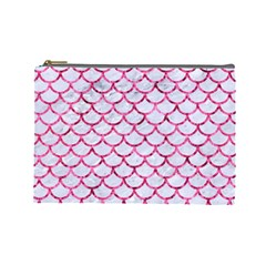 Scales1 White Marble & Pink Marble (r) Cosmetic Bag (large)  by trendistuff