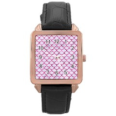Scales1 White Marble & Pink Marble (r) Rose Gold Leather Watch