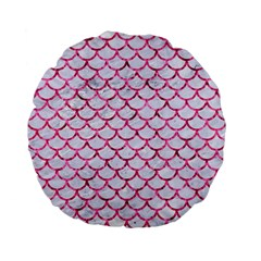 Scales1 White Marble & Pink Marble (r) Standard 15  Premium Flano Round Cushions