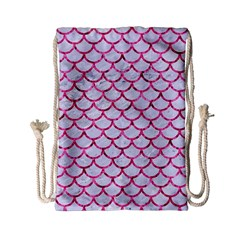Scales1 White Marble & Pink Marble (r) Drawstring Bag (small) by trendistuff