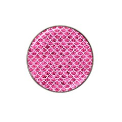 Scales1 White Marble & Pink Marble Hat Clip Ball Marker by trendistuff
