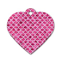 Scales1 White Marble & Pink Marble Dog Tag Heart (two Sides)