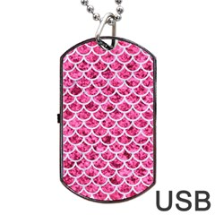 Scales1 White Marble & Pink Marble Dog Tag Usb Flash (two Sides) by trendistuff