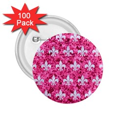 Royal1 White Marble & Pink Marble (r) 2 25  Buttons (100 Pack)