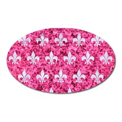 Royal1 White Marble & Pink Marble (r) Oval Magnet