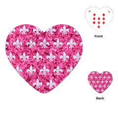 Royal1 White Marble & Pink Marble (r) Playing Cards (heart)