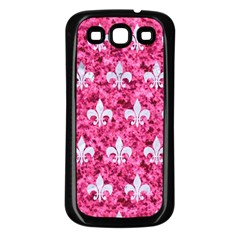 Royal1 White Marble & Pink Marble (r) Samsung Galaxy S3 Back Case (black) by trendistuff