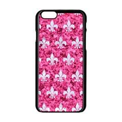 Royal1 White Marble & Pink Marble (r) Apple Iphone 6/6s Black Enamel Case by trendistuff