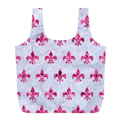 Royal1 White Marble & Pink Marble Full Print Recycle Bags (l)