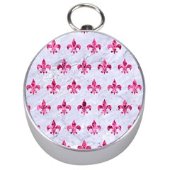 Royal1 White Marble & Pink Marble Silver Compasses
