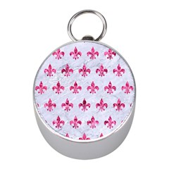 Royal1 White Marble & Pink Marble Mini Silver Compasses by trendistuff