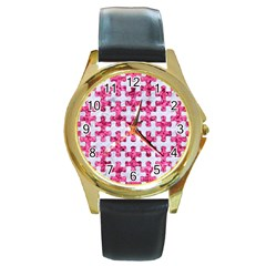 Puzzle1 White Marble & Pink Marble Round Gold Metal Watch