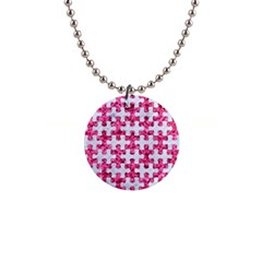 Puzzle1 White Marble & Pink Marble Button Necklaces