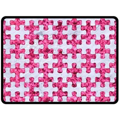 Puzzle1 White Marble & Pink Marble Fleece Blanket (large)