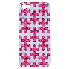Puzzle1 White Marble & Pink Marble Apple Iphone 5 Hardshell Case