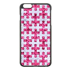 Puzzle1 White Marble & Pink Marble Apple Iphone 6 Plus/6s Plus Black Enamel Case