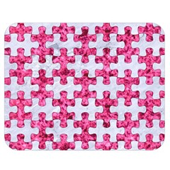 Puzzle1 White Marble & Pink Marble Double Sided Flano Blanket (medium)