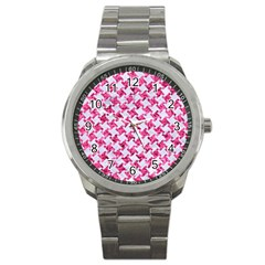 Houndstooth2 White Marble & Pink Marble Sport Metal Watch