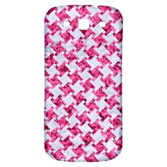 Houndstooth2 White Marble & Pink Marble Samsung Galaxy S3 S Iii Classic Hardshell Back Case by trendistuff