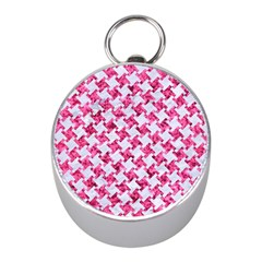 Houndstooth2 White Marble & Pink Marble Mini Silver Compasses by trendistuff
