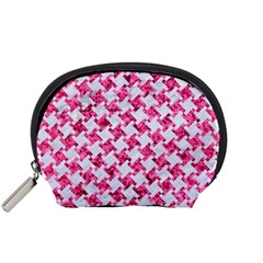 Houndstooth2 White Marble & Pink Marble Accessory Pouches (small)