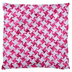 Houndstooth2 White Marble & Pink Marble Large Flano Cushion Case (one Side)