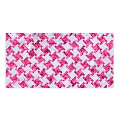 Houndstooth2 White Marble & Pink Marble Satin Shawl