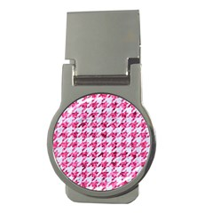 Houndstooth1 White Marble & Pink Marble Money Clips (round)