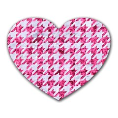 Houndstooth1 White Marble & Pink Marble Heart Mousepads