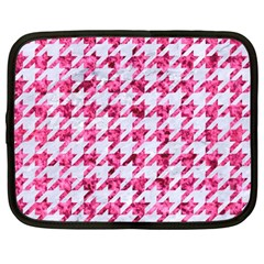 Houndstooth1 White Marble & Pink Marble Netbook Case (large)