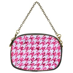 Houndstooth1 White Marble & Pink Marble Chain Purses (one Side)