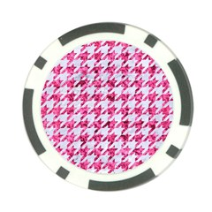 Houndstooth1 White Marble & Pink Marble Poker Chip Card Guard (10 Pack)