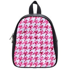 Houndstooth1 White Marble & Pink Marble School Bag (small)